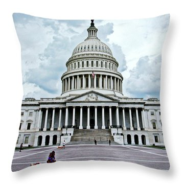 Throw Pillow featuring the photograph United States Capitol by Suzanne Stout