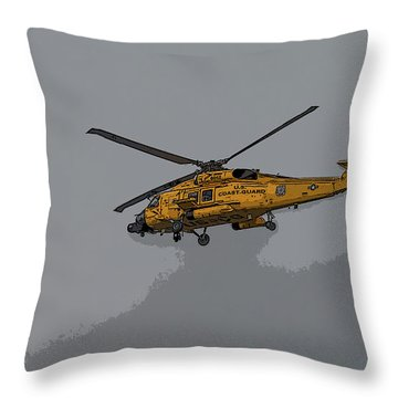 United States Coast Guard Helicopter Throw Pillow