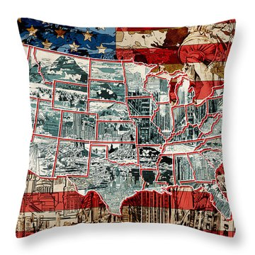 United States Drawing Collage Map 6 Throw Pillow
