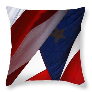 United States Flag Abstract Throw Pillow by Linda Phelps