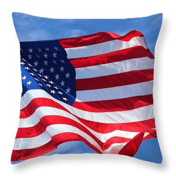 Throw Pillow featuring the photograph United States Flag by Elizabeth Budd
