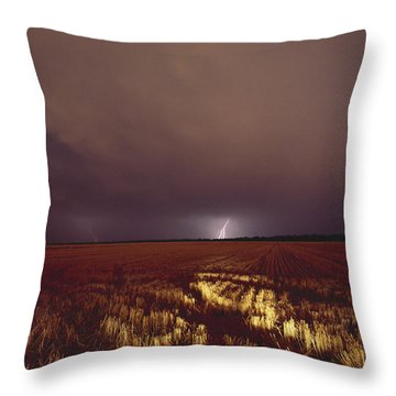 United States, Kansas, Lightning Throw Pillow by Keenpress