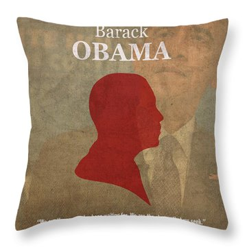 United States Of America President Barack Obama Facts Portrait And Quote Poster Series Number 44 Throw Pillow by Design Turnpike