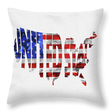United States Typographic Map Flag Throw Pillow