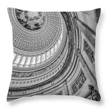 Throw Pillow featuring the photograph Unites States Capitol Rotunda Bw by Susan Candelario