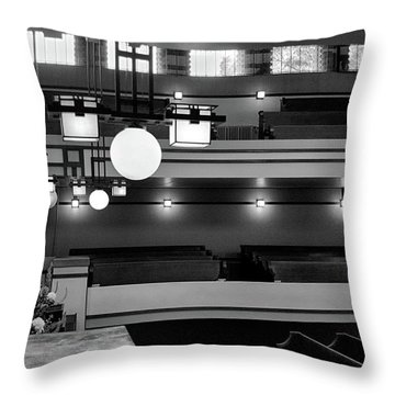 Unity Temple Interior Black And White Throw Pillow