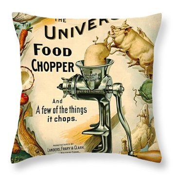 Universal Food Chopper 1897 Throw Pillow by Padre Art
