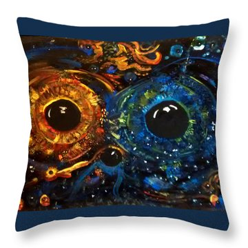 Throw Pillow featuring the painting Universe Watching by Michelle Audas