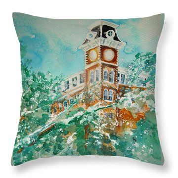 Ice On Old Main Throw Pillow by Robin Miller-Bookhout