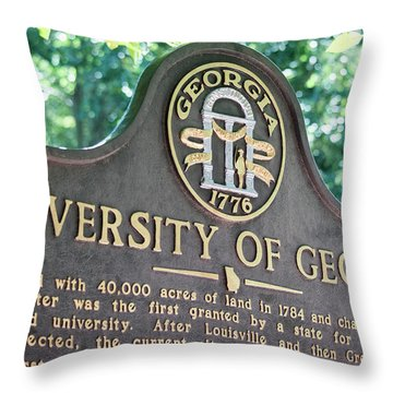 Throw Pillow featuring the photograph University Of Georgia Sign by Parker Cunningham