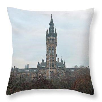 University Of Glasgow At Sunrise - Panorama Throw Pillow