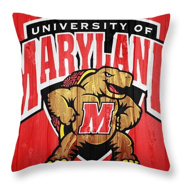 University Of Maryland Barn Door Throw Pillow