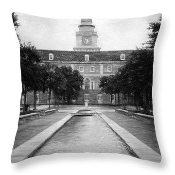 University Of North Texas Bw Throw Pillow
