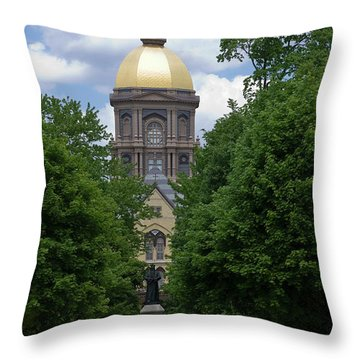University Of Notre Dame Golden Dome Throw Pillow by Sally Weigand
