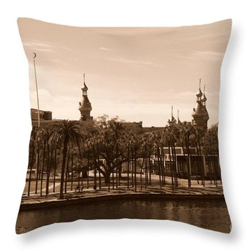University Of Tampa With River - Sepia Throw Pillow by Carol Groenen