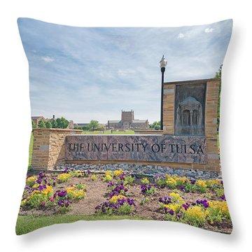 University Of Tulsa Mcfarlin Library Throw Pillow by Roberta Peake