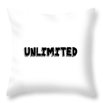 Unlimited - Art Print Poster, One Word Quotes  Throw Pillow
