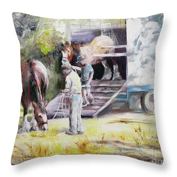 Unloading The Clydesdales Throw Pillow
