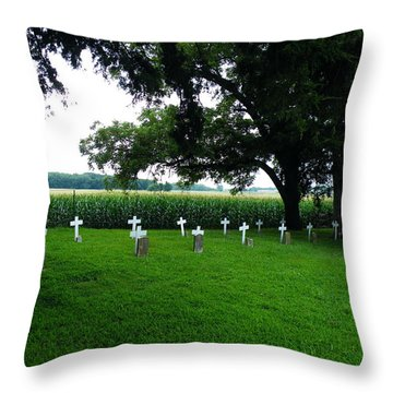 Throw Pillow featuring the photograph Unmarked Graves In Youth Center #4 by The GYPSY