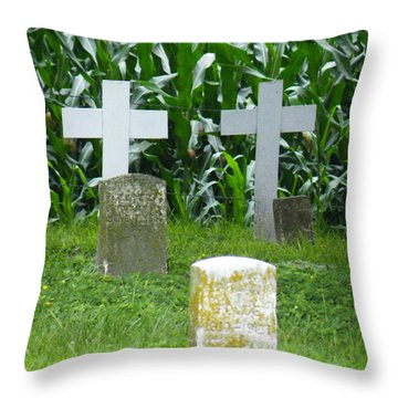 Throw Pillow featuring the photograph Unmarked Youth Center Graves #1 by The Gypsy