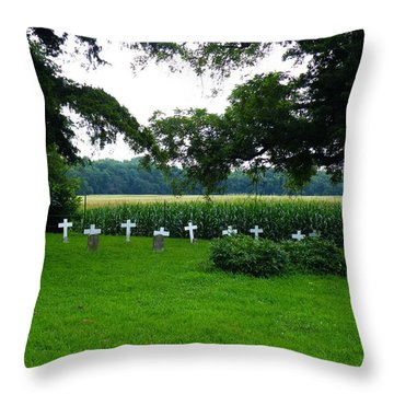 Throw Pillow featuring the photograph Unmarked Youth Center Graves #2 by The GYPSY