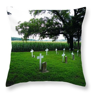 Throw Pillow featuring the photograph Unmarked Youth Center Graves #3 by The GYPSY