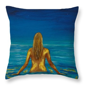 Throw Pillow featuring the painting Unmasking Series 1 by Leslie Allen