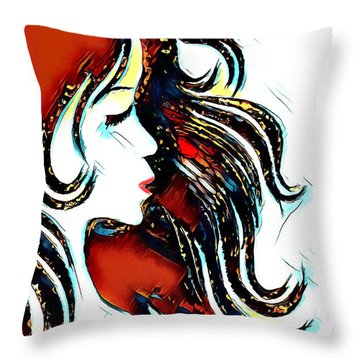 Throw Pillow featuring the digital art Unrestricted-abstract by Pennie McCracken