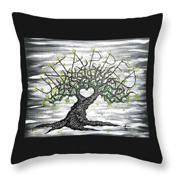 Throw Pillow featuring the drawing Untapped Love Tree by Aaron Bombalicki
