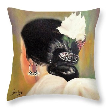 Untitled Dancer With White Flower Throw Pillow by Manuel Sanchez