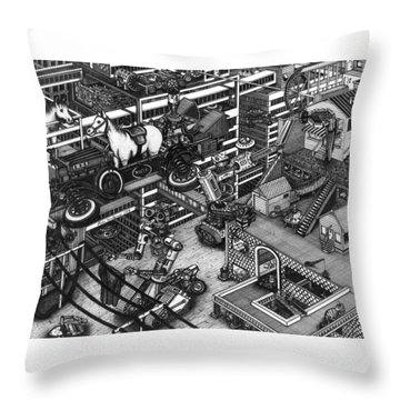 Throw Pillow featuring the painting The Moxie Powered Horse Mobile And The Cleaning Robots  by Richie Montgomery