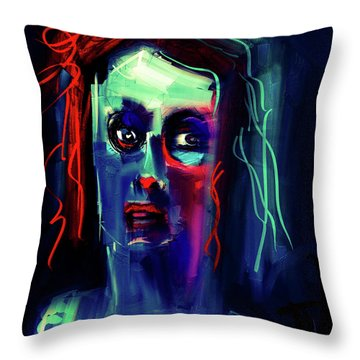 Throw Pillow featuring the digital art Untitled Portrait - 23july2017 by Jim Vance