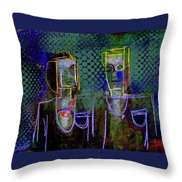 Throw Pillow featuring the painting Untitled Portrait June 6 2015 by Jim Vance