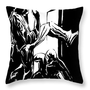 Throw Pillow featuring the painting Untitled Tao by John Jr Gholson