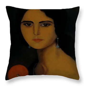 Untitled Woman With Orange Throw Pillow