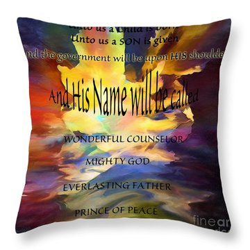 Unto Us Throw Pillow by Margie Chapman