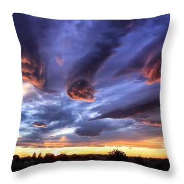 Alien Cloud Formations Throw Pillow by Lynn Hopwood