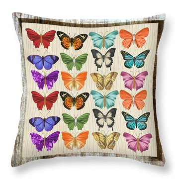 Colourful Butterflies Collage Throw Pillow