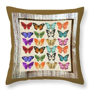 Unusual Colourful Butterfly Collage Throw Pillow