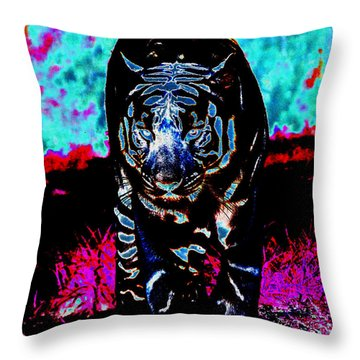 Throw Pillow featuring the photograph Unusual Tiger On The Prowl by Maggy Marsh