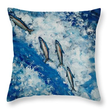 Throw Pillow featuring the painting Unwarranted Escape by Ray Khalife