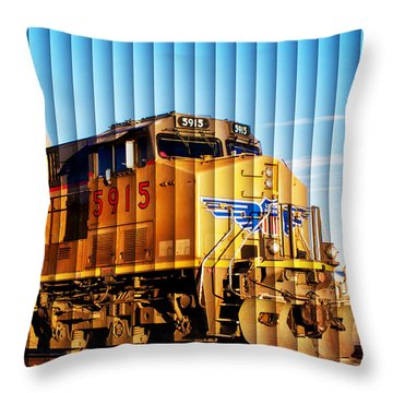 Throw Pillow featuring the photograph Up 5915 At Track Speed by Bill Kesler