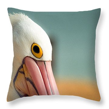 Up Close And Personal With My Pelican Friend Throw Pillow