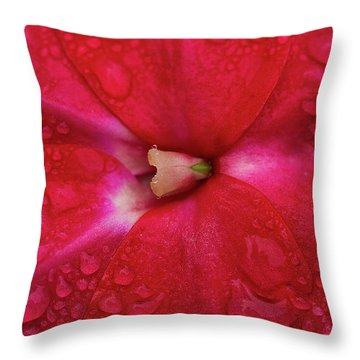 Up Close With Impatiens Throw Pillow
