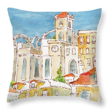 Throw Pillow featuring the painting Up From Rossio Square by Pat Katz