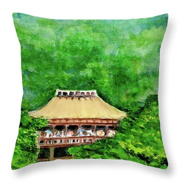 Throw Pillow featuring the painting Up High Temple by Yoshiko Mishina