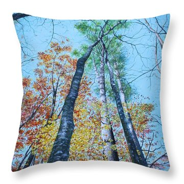 Throw Pillow featuring the painting Up Into The Trees by Mike Ivey