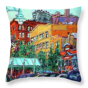 Up On Broadway Throw Pillow