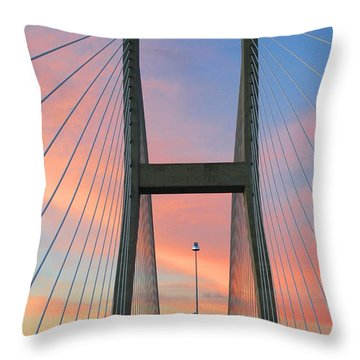 Up On The Bridge Throw Pillow by Kathryn Meyer