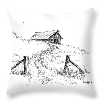 Up The Hill To The Old Barn Throw Pillow